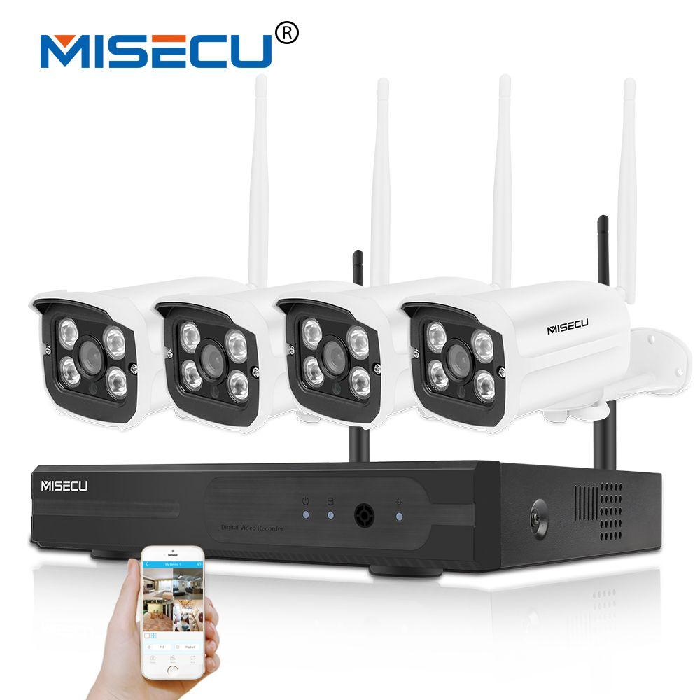 MISECU Easy installation plug&play 2.4G wifi KIT 720P 1080P VGA/HDMI 4CH NVR Wireless P2P 720p WIFI IP Camera Waterproof CCTV