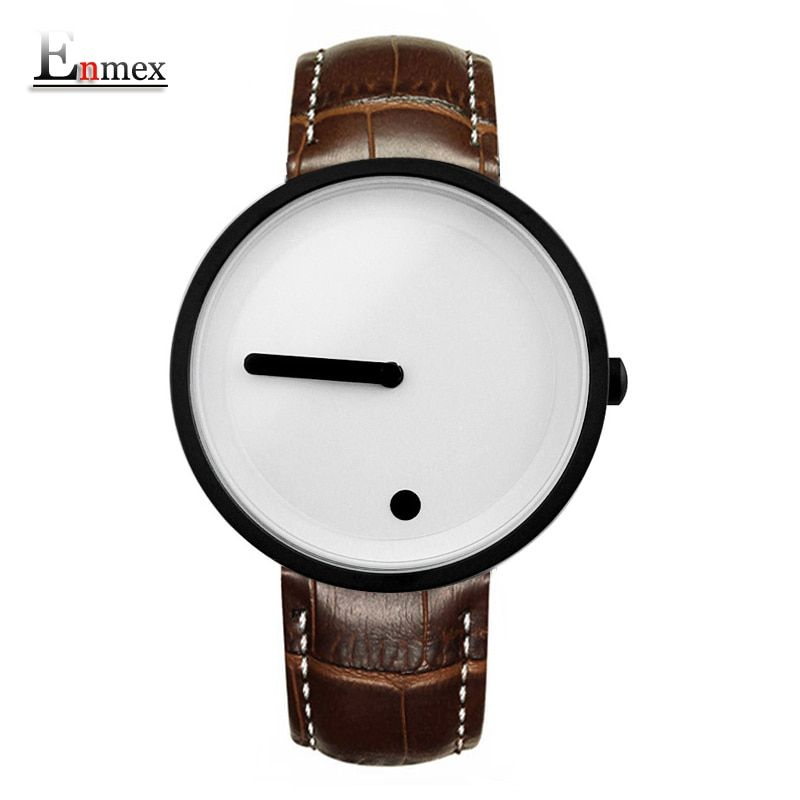 Gift Enmex <font><b>cool</b></font> colour Minimalist style wristwatch creative design Dot and Line simple stylish with quartz fashion watch