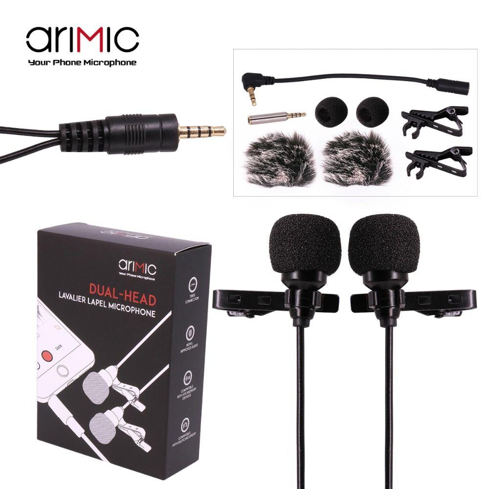 AriMic Double-Tête Clip sur Micro-Cravate Cravate Omnidirectionnel À Condensateur Enregistrement Mic pour iPhone Sumsang DSLR Caméra Téléphone