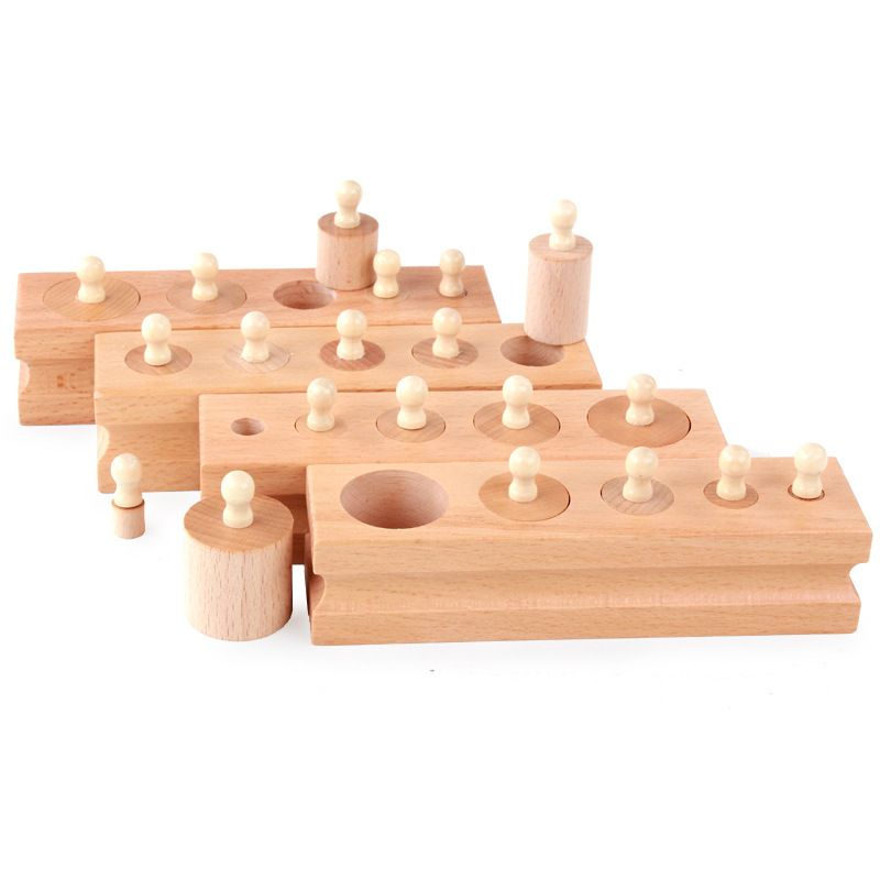 Baby toys Montessori 4PCS / Set of wooden Mathematical Elm Socket Cylinder Family Pack Baby Puzzle Educational toys