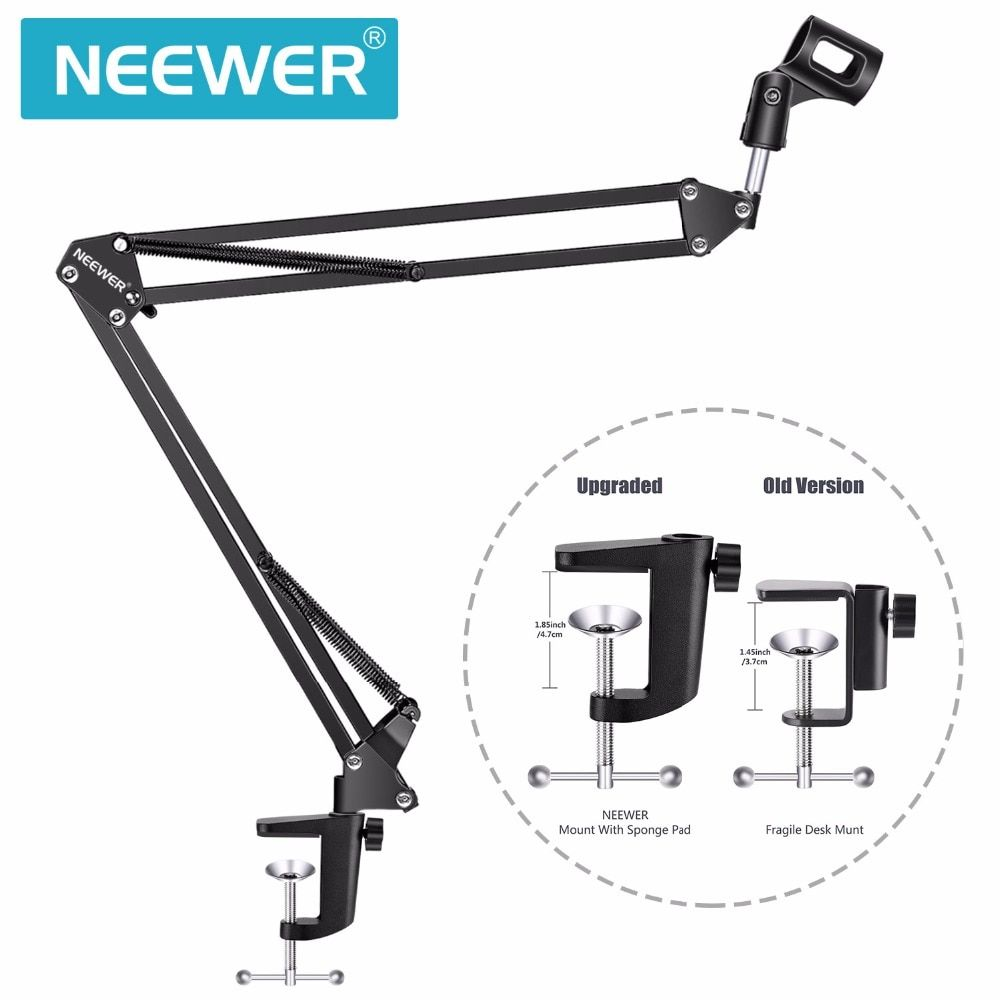 Neewer NB-35 Broadcasting Studio Microphone Mic Stand Boom Scissor <font><b>Suspension</b></font> Arm Mount Shock For Mounting On PC Laptop Notebook