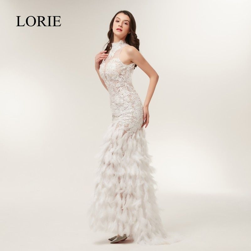 Full Sexy Feather Mermaid Prom Dresses 2018 LORIE White Lace High Neck Women Evening Party Gowns Backless Long Formal Dress