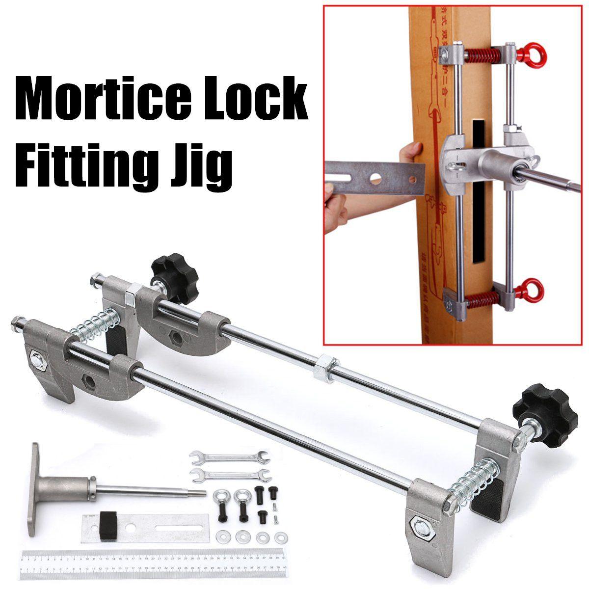 Door Lock Mortiser Fitting Jig Mortice Kit with Wrench Home Improvement Tool Mortice Door Fitting Jig