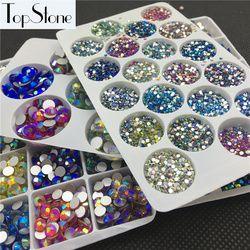 Todos los tamaños resto colores AB SS3-SS34 cristal Flatbacks Hotfix Rhinestone pegamento en 3D uñas joyas decoración