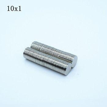 100 pcs Néodyme aimant 10x1 Rare Terre petit Forte Ronde permanente 10*1mm réfrigérateur Électro-Aimant NdFeB nickel magnétique DISQUE