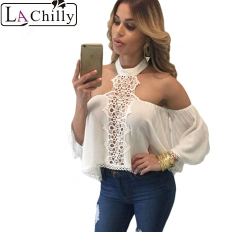 La Chilly 2017 Women Summer Style Sexy Off Shoulder Tops Woman Camisole White Chocker Neck Bare Shoulders Flare Crop Top LC25765