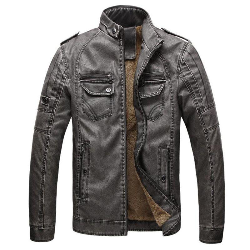 Chaude qualité automne et hiver hommes veste en cuir chaud plus velours manteau loisirs hommes veste moto coupe-vent PU cuir