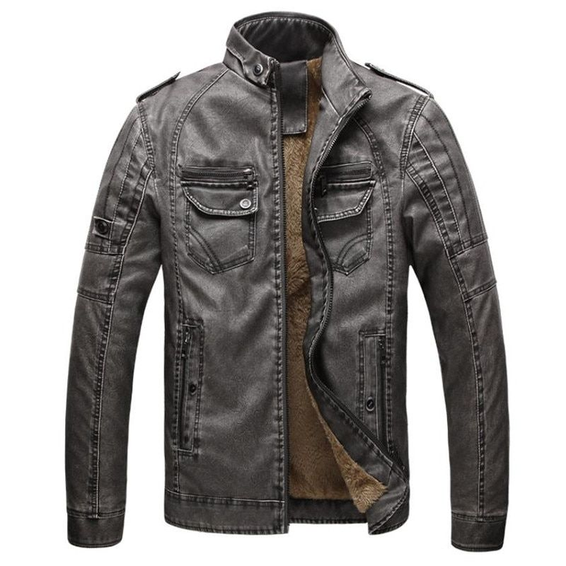 Hot <font><b>quality</b></font> Autumn And Winter men leather jacket warm plus velvet coat leisure men jacket motorcycle Windproof PU leather