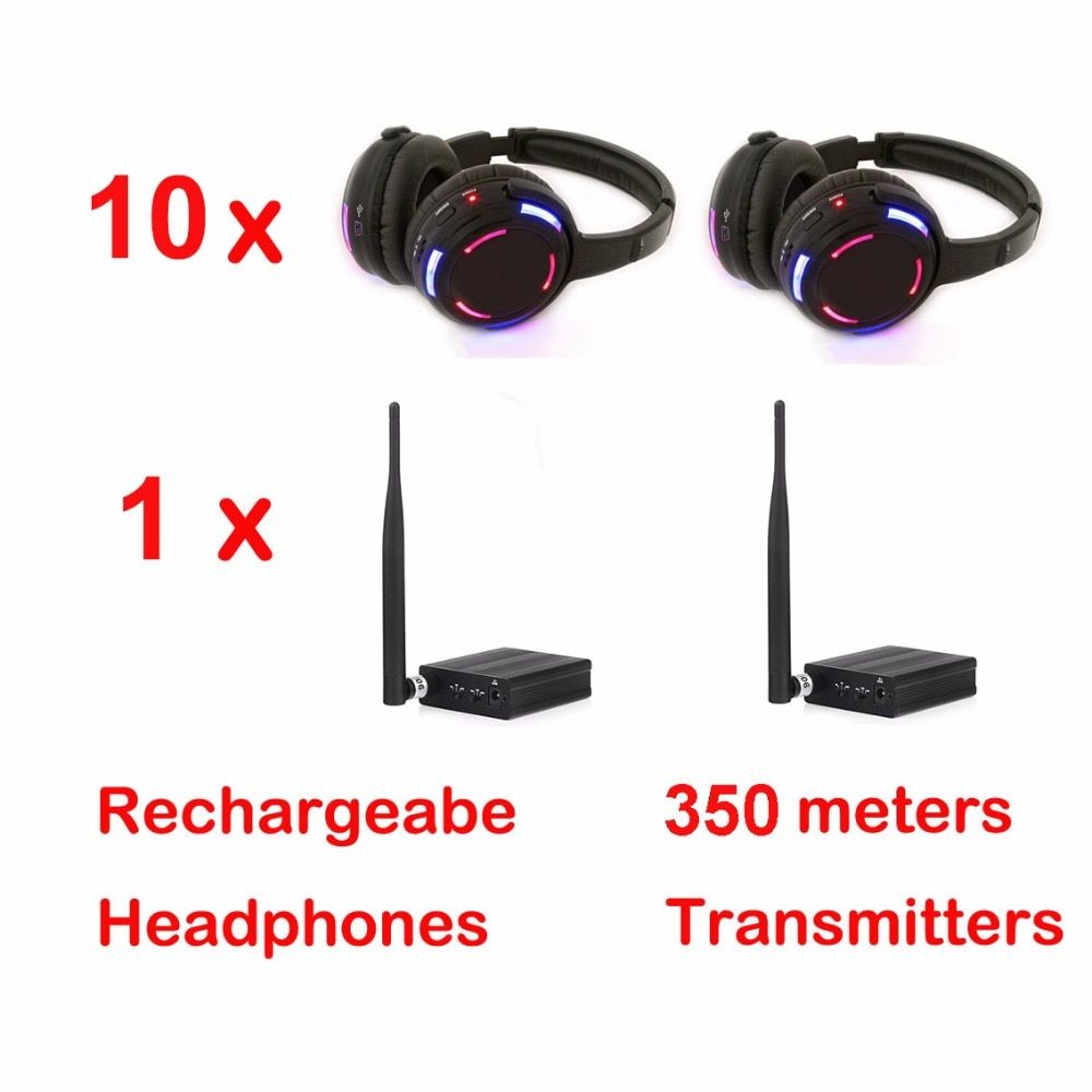 500m distance Professional Silent Disco 10 LED Headphones with 1 transmitter- RF Wireless For DJ club party meeting broadcast