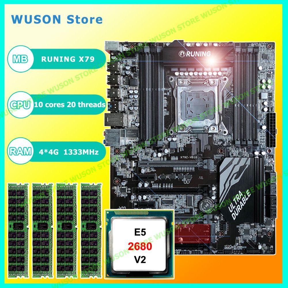 New!!Runing Super ATX X79 LGA2011 motherboard 8 DDR3 DIMM slots max 8*16G memory Xeon E5 2680 V2 CPU 16G(4*4G)1333MHz DDR3 RECC