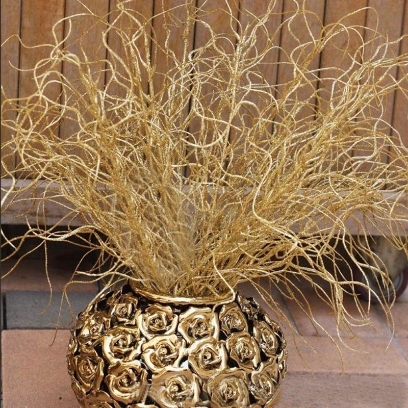 46 CM de Long artificiel plante Simulation herbe dorée ornements de noël paillettes Bling fleurs artificielles pour la décoration de la maison