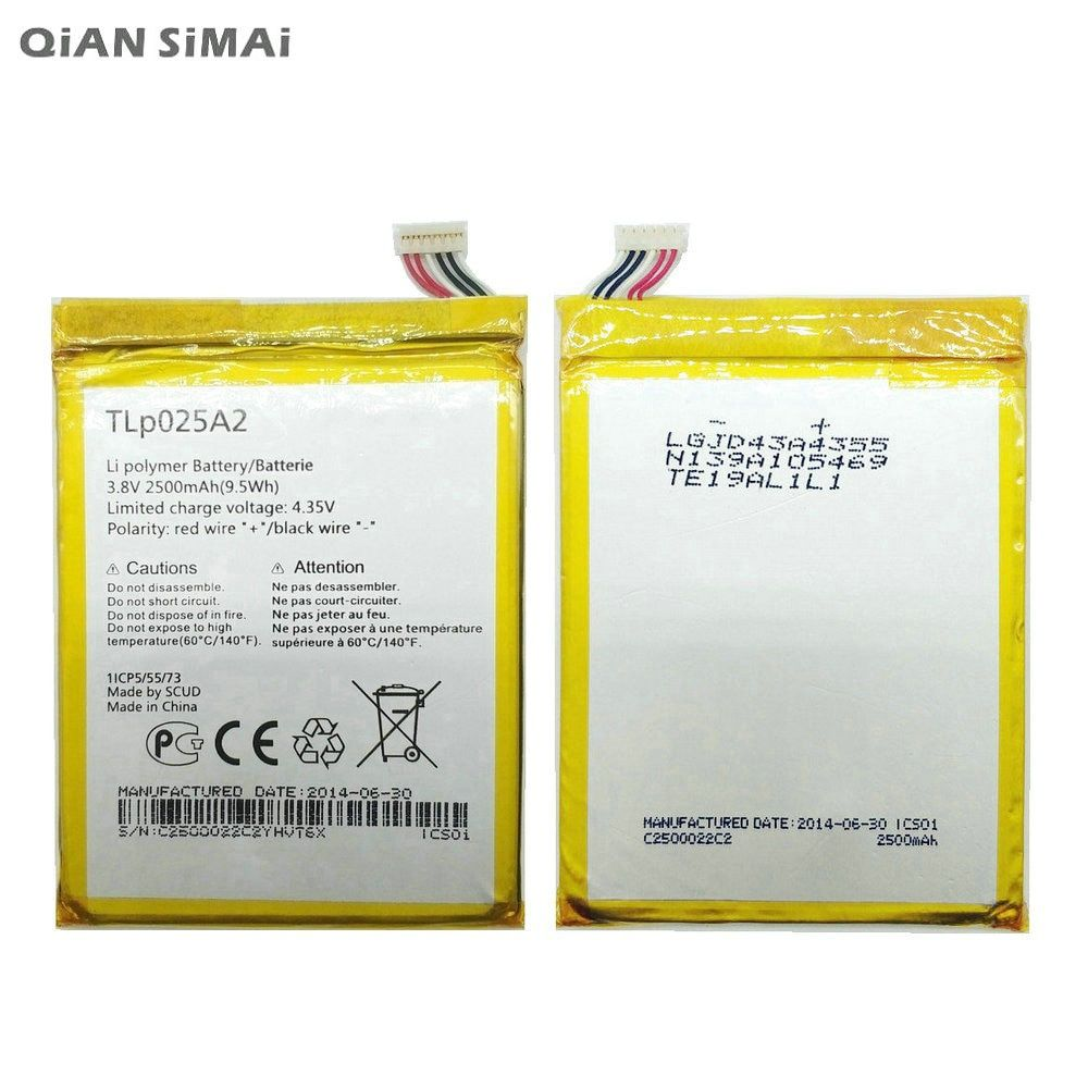 QiAN SiMAi High Quality TLP025A2 Battery For Alcatel One Touch OT-8008D Scribe HD OT8000 8000D 6043D For TCL Y710 Y900