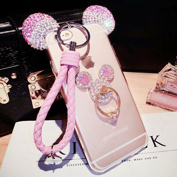 3D Mickey Cas De L'oreille Pour iphone X 8 7 6 6 s Plus 5 SE Couverture avec Support de Cou Pour Samsung S6 S7 Bord S8 S8Plus Note4 5 J7 J5 2016