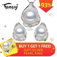 FENASYr joyería de La Perla colgante de perlas conjuntos de joyas para mujeres collar de perlas/pendiente de la joyería de la boda conjunto colgante de concha de diseño