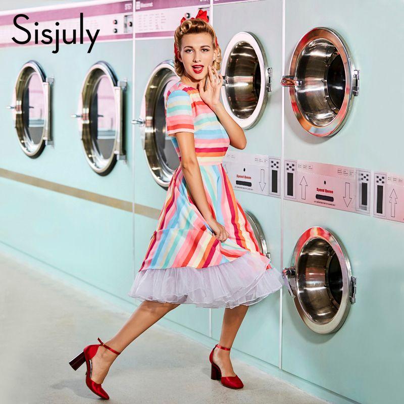 Sisjuly femmes vintage robe 1950 s rétro d'été patchwork arc-en-robe à rayures à manches courtes o cou femme vintage robes nouveau