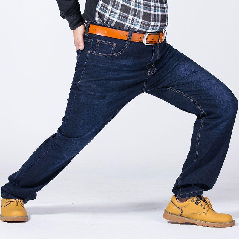 Для Мужчин's Бизнес прямые свободные жира джинсы Мотобрюки Брюки большой плюс Размеры 48 50 52 синий повседневные джинсы Мотобрюки брюки для де...