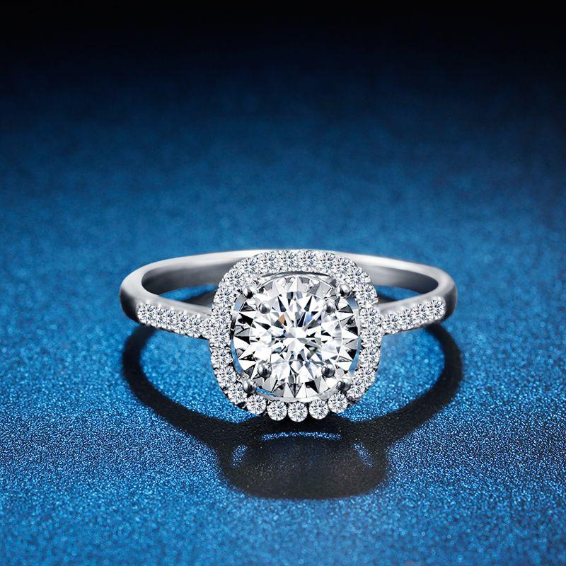 ZHJIASHUN Halo 0.8ct Moissanites Diamant 14 K 585 Weiß Gold Hochzeit Verlobung Ringe Für Frauen F Schmuck
