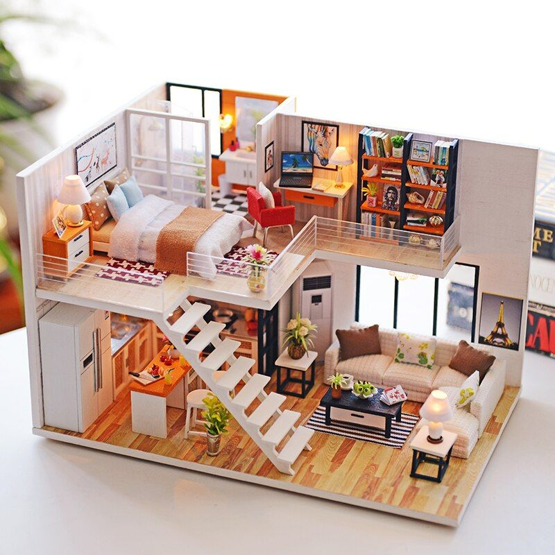 Assemble DIY Doll House Toy Wooden Miniatura Doll Houses Miniature Dollhouse toys With Furniture LED Lights Birthday Gift