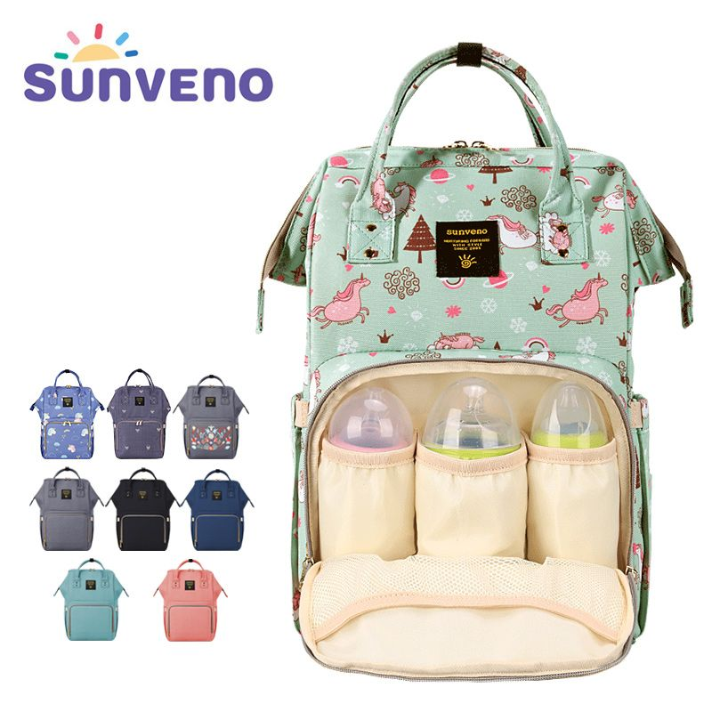 SUNVENO Mommy Diaper Bag Large Capacity Baby Nappy Bag Designer Nursing Bag Fashion Travel Backpack Baby <font><b>Care</b></font> Bag for Mother Kid