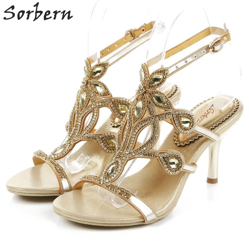 Sorbern 7.5CM Crystal Women Sandals Luxury Rhinestone Bridal Wedding Shoes Zapatos Mujer Fashion Ladies Indoor Party Shoes