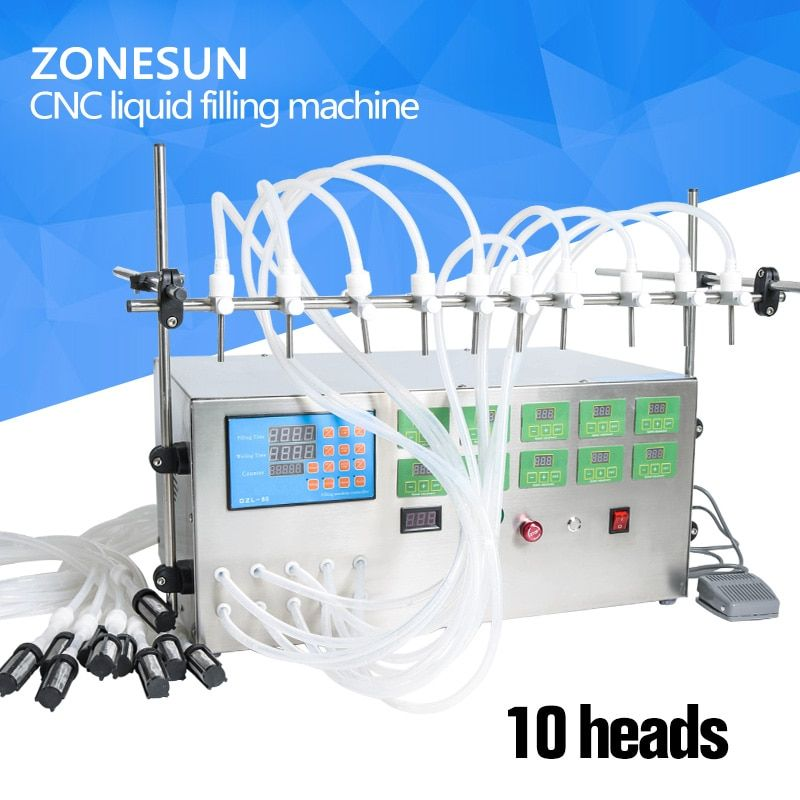 ZONESUN Electric Digital Control Pump Liquid Filling Machine 3-4000ml For Liquid Perfume Water Juice Essential Oil With 10 Heads