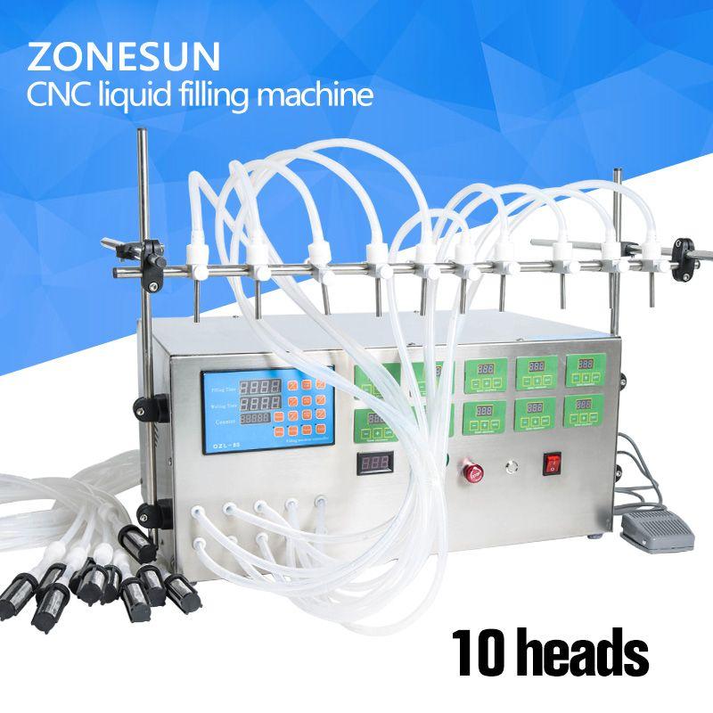 ZONESUN Electric Digital Control Pump Liquid Filling Machine 3-4000ml For Liquid Perfume Water Juice Essential Oil With 10 Heads
