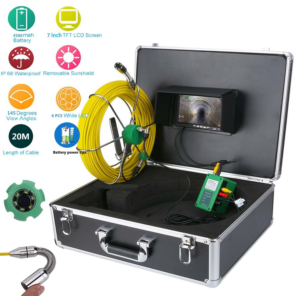 50M 40M 30M 20M Drain Pipe Sewer Inspection Video Camera 7