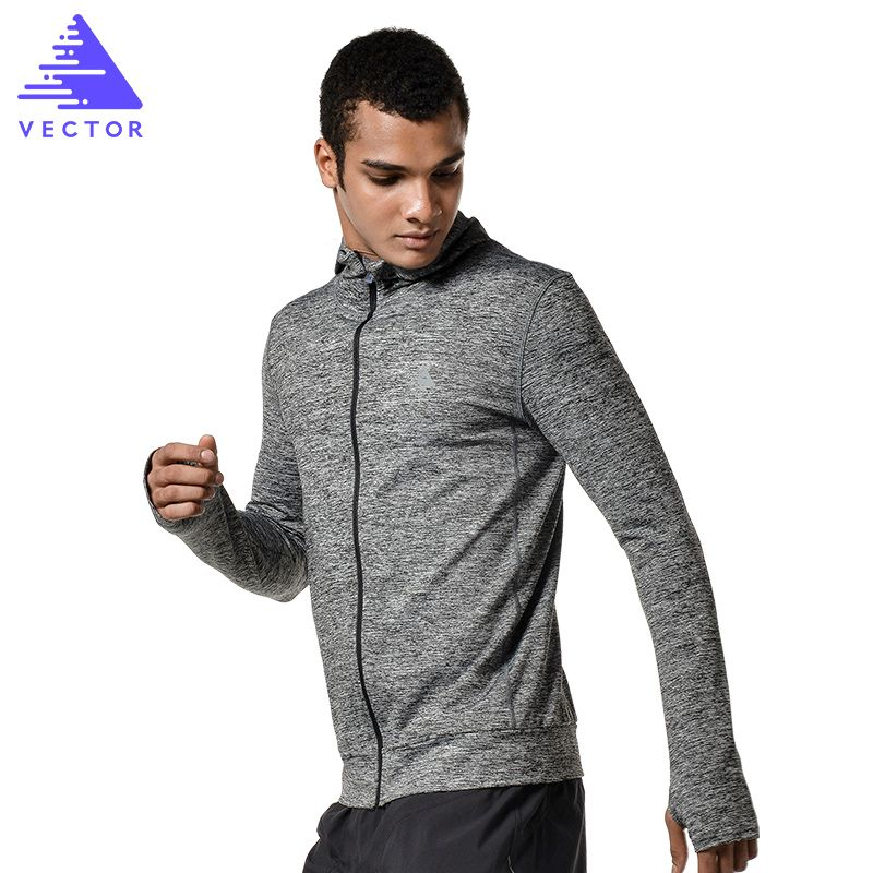 VECTOR Brand Running Jacket Men Breathable Quick-drying Running Jersey Windproof Coat Outdoor Sports Hiking Run Hooded  XXF30004