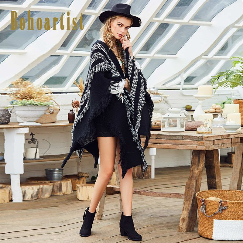 Bohoartist Women Cape 2017 Autumn Black Casual Stripe Patchwork Tassel Fashion Clothing New Ladies Elegant Bohemia Scarf Capes