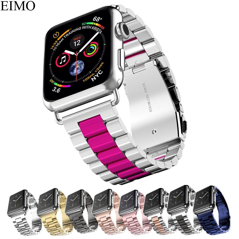 EIMO Stainless Steel Strap For Apple Watch band 42mm 38mm Iwatch Series 4 3 2 1 44mm 40mm Classic Link Bracelet Wrist Watchband