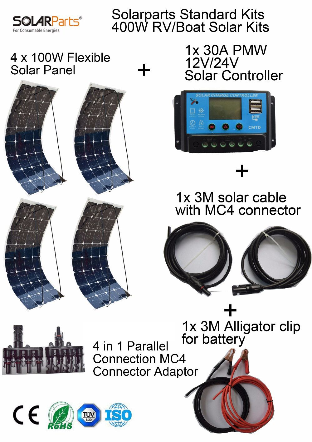 Solarparts Standard Kits 400W DIY RV/Boat Kits Solar System 100W flexible solar panel+controller+cable outdoor light led module.