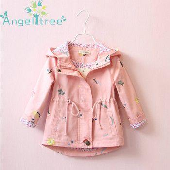 Angeltree Fille Vestes Manteaux Enfants vêtements brodé de fleurs Coupe-Vent À Capuche Pour Filles Vêtements Enfants Survêtement 1028