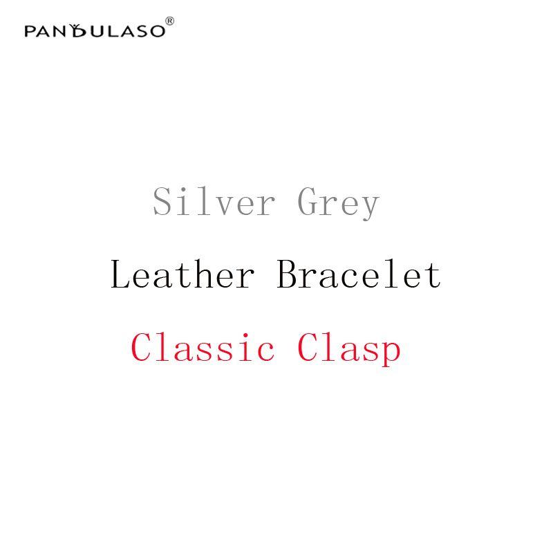 Pandulaso серебристо-серый Кожаные браслеты с классической застежкой DIY ювелирных Интимные аксессуары оригинальный серебряный 925 веревка Брасл...
