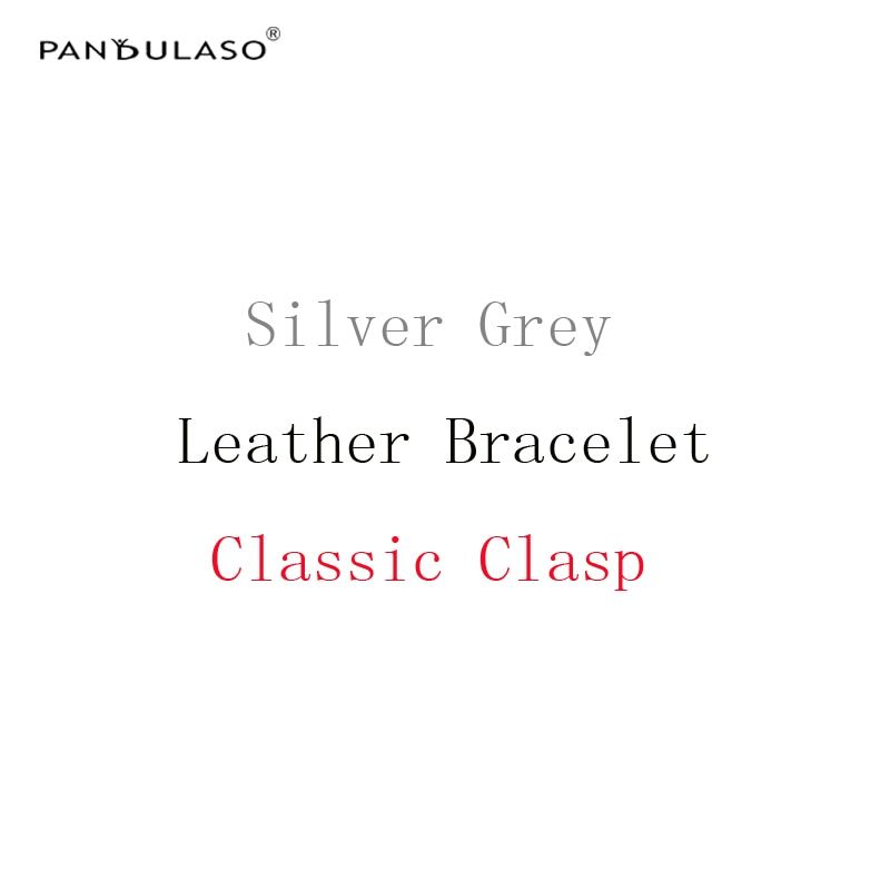 Pandulaso Silver Grey Leather Bracelets with Classic Clasp DIY Jewelry Accessories Original Silver 925 Rope Bracelets for Women