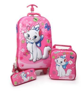3D Kids Rolling School Bags girl's Boy's trolley case Children Travel suitcase School Mochila Kid's Trolley Bags with wheels