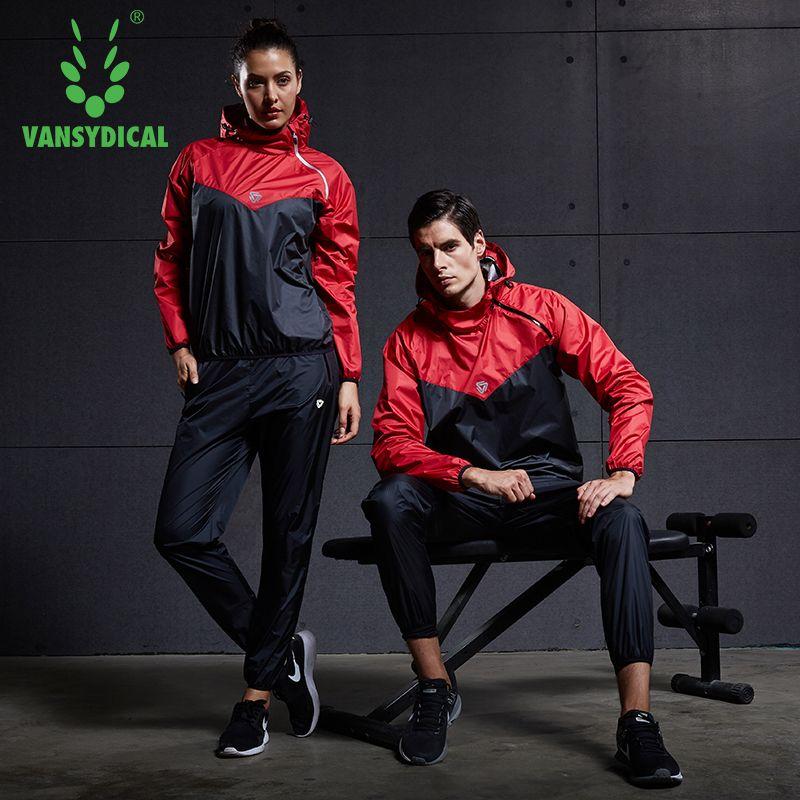 Vansydical Gym Kleidung Set Herren Frauen Laufen Fitness Training Workout Sportswear Gewicht Verlust Schwitzen Sauna Sport Anzug