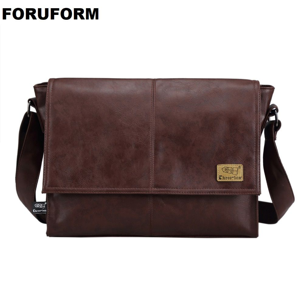 Designer Handbags Men's 14 Inch Laptop Bag Male PU Leather Messenger Bags Men Travel School Bags Leisure Shoulder Bags Free Ship