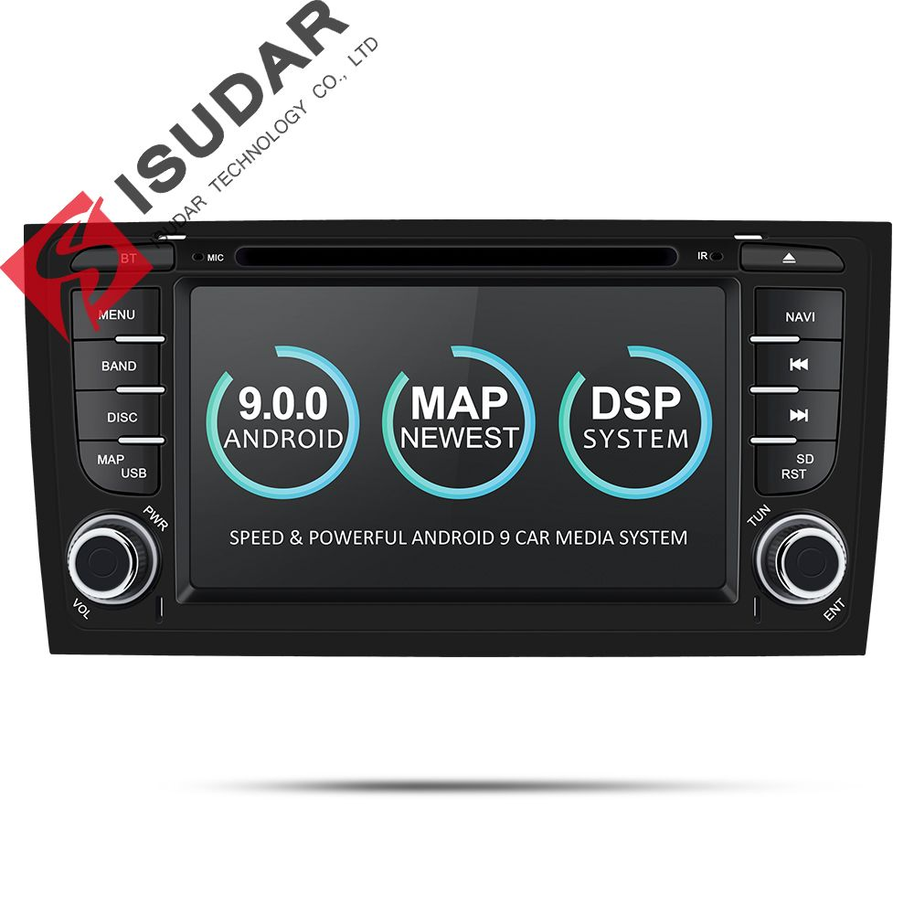 Isudar Auto Multimedia-Player GPS Zwei Din Android 9 DVD Automotivo Für Audi/A6/S6/RS6 Radio FM quad-Cores RAM 2 GB ROM 16 GB DSP