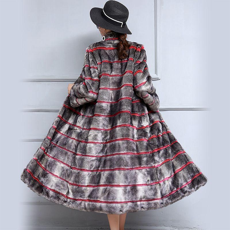 Nerazzurri Winter Faux Mink Fur Coat Women Color Block Fake Fur Outwear Extra Long Striped Female Overcoat Plus Size 5xl 6xl 7xl