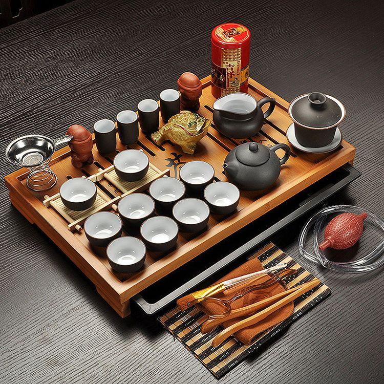 Ensemble de thé Kung Fu en argile violette Jingdezhen, tasse à thé, infuseur de Tureen, cérémonie du thé chinois avec Gaiwan, Table à thé Chahai