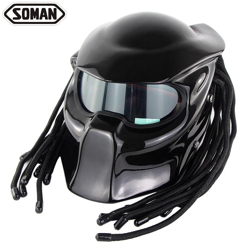 Straße Reiten Full Gesicht Motorrad Helm Maske Carbon faser Motor Fahrrad helme Moto Armet Predator Eisen Mann Capacete