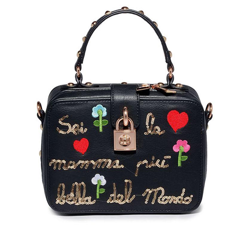 AMELIE GALANTI Kompakte Stickerei Frauen Niet Handtaschen Harte PU Echtem Leanther frauen Handtaschen Crossbody Casual Kleine Totes