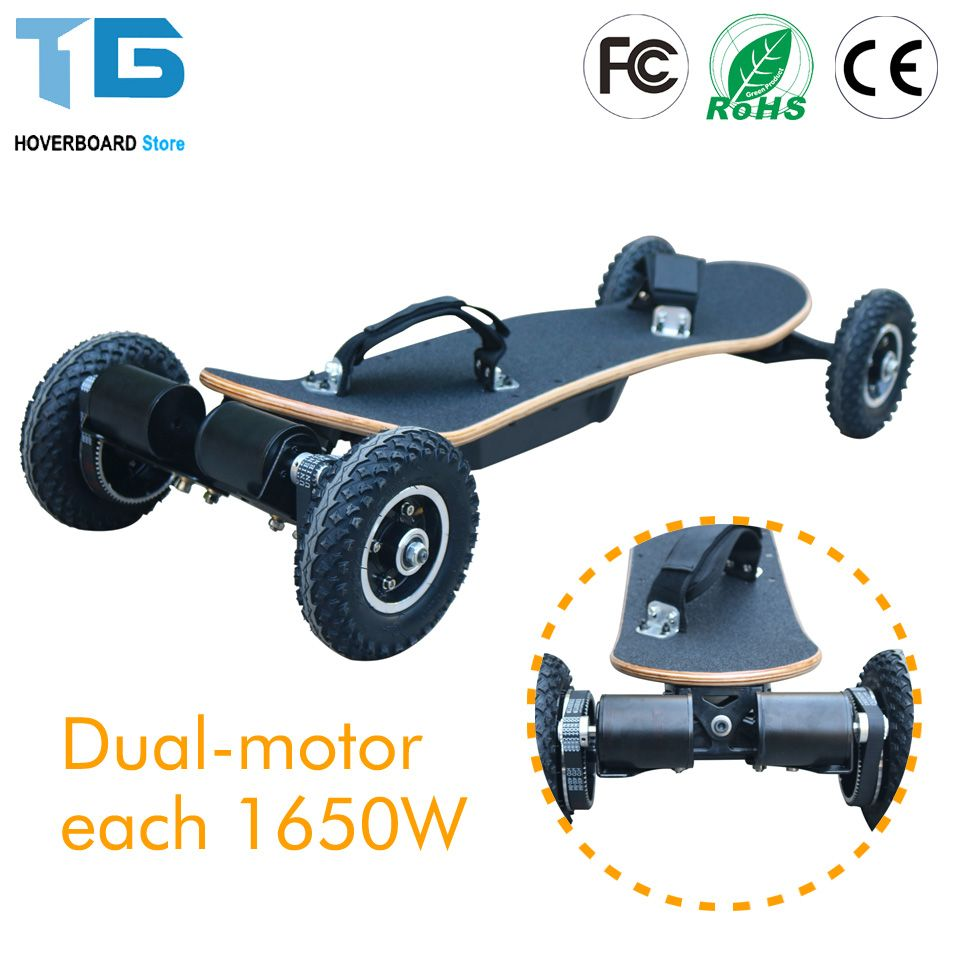 4 Wheels Electric Skateboard Mountain Board Off Road Skateboard 36V Lithium Battery 2 Layers Bamboo And 8 Layers Maples 11000mAh