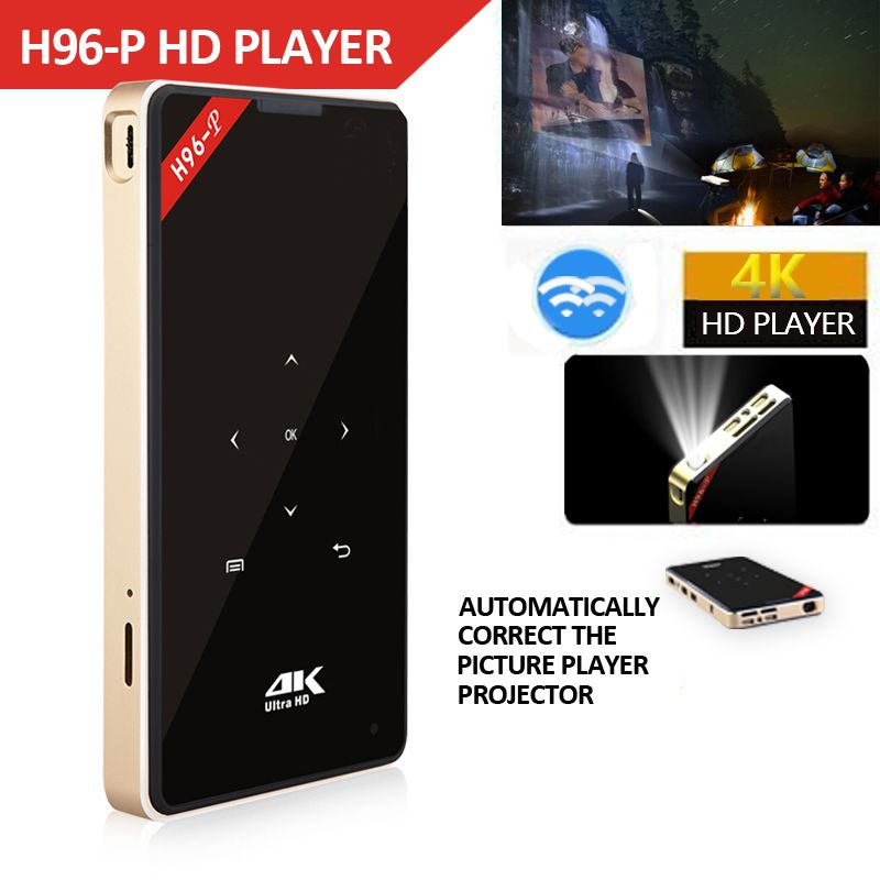 Hotsale H96-P Mini DLP 4 k Projecteur Quad Core Android Tragbare Home Video Theater Bluetooth HD-IN 5g WIFI TV box 2gb 16g