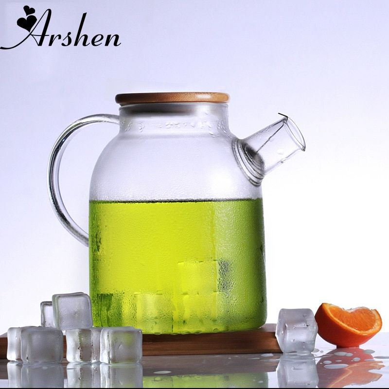 Arshen 1000ml/1800ml Glass Kettle Water Jug Heat Resistant Flower Teapot With Bamboo Lid Stainless Steel Filter Juice Container