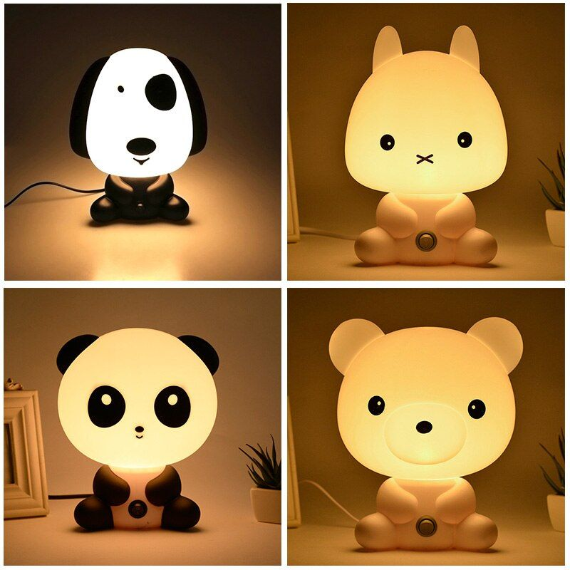 EU Plug Night Lovely Sleeping Lamp Baby Room Panda/Rabbit/Dog/Bear Cartoon Light <font><b>Kids</b></font> Bed Lamp for Gifts CLH