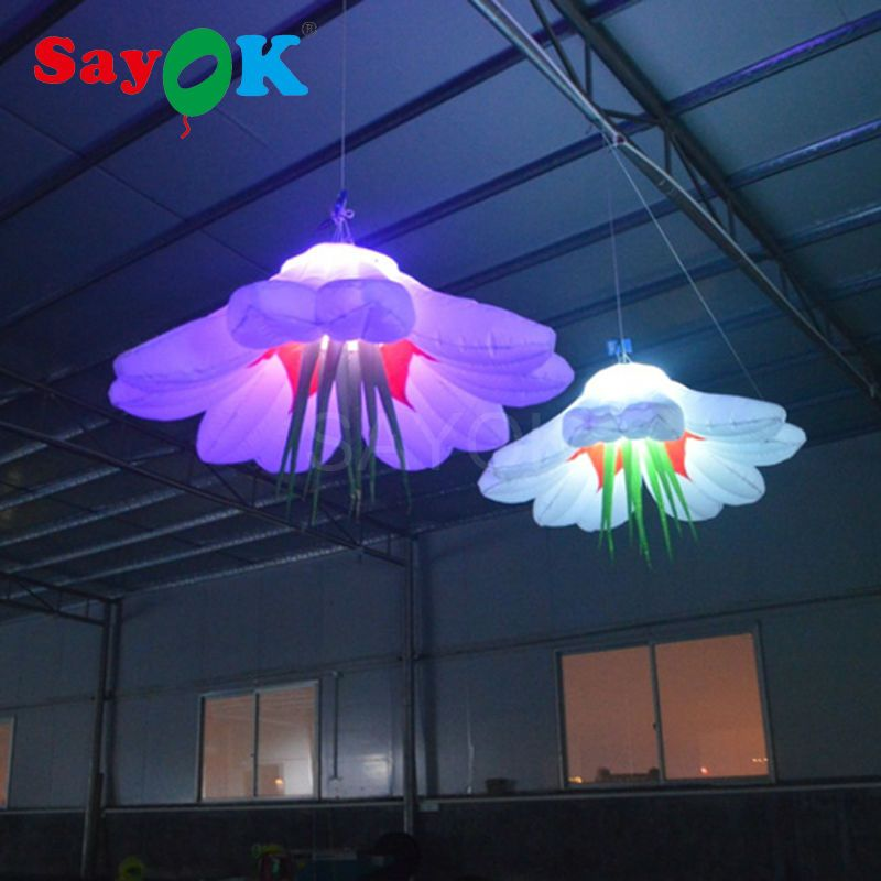 Sayok 1m/1.5m/2m Diameter Inflatable Hanging LED Flowers Stage Night Club Party Wedding Decoration with 16 Color Changing Light