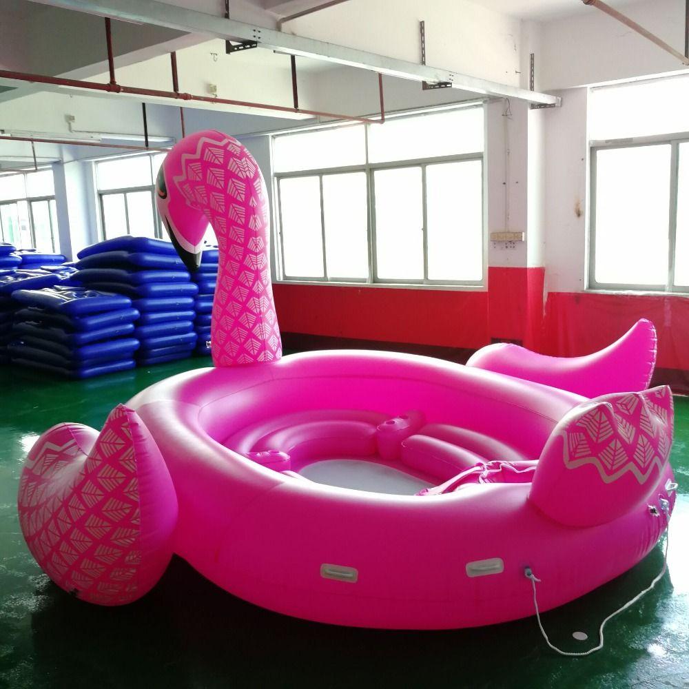 Farbe Gedruckt Riesen Einhorn Pool Float riesige Flamingo Insel Flamingo Boot für 6-8persons Pool-Party