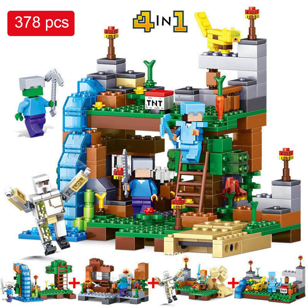 378pcs Minecrafted Figures Building Blocks Mine World 4 in 1 Garden City Building Bricks Toys Compatible With Legoed Minecrafted