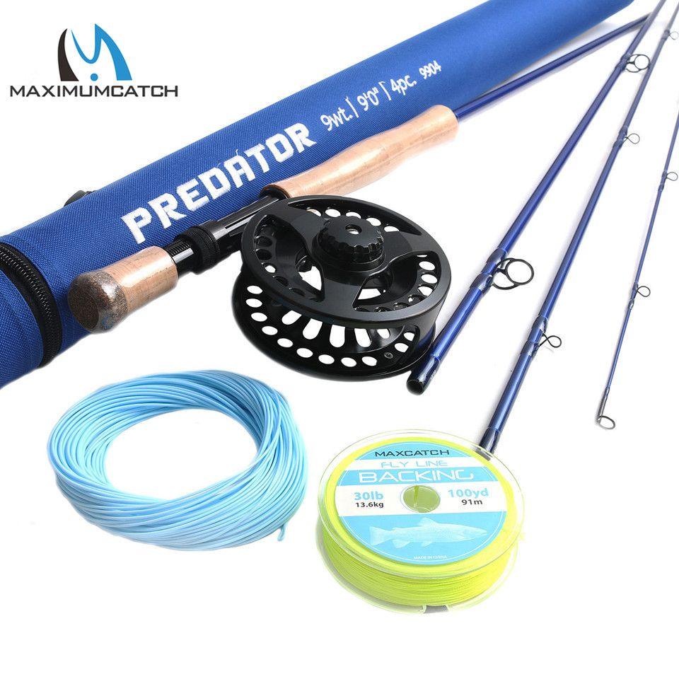 Maximumcatch 9FT Saltwater Fly Rod 9wt 4pcs 30T SK Carbon Fiber Fly Fishing Rod with 9/10wt Fly reel&Line Combo
